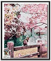 ARTomo【アトモ】パズル油絵『フレーム付き』数字 油絵 DIY 塗り絵 本格的な油絵が誰でも簡単に楽しく描ける 40x50cm (猫と桜)