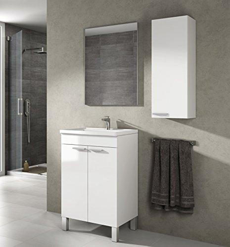 Armario de baño o aseo para colgar en la pared, color blanco brillo 30x85x25cm