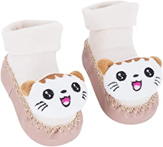 DCP Infant Baby Cotton Booties Anti Slip Floor Slipper Shoes Socks Grippers Winter Warm Nursling Crib Shoes Khaki Cat