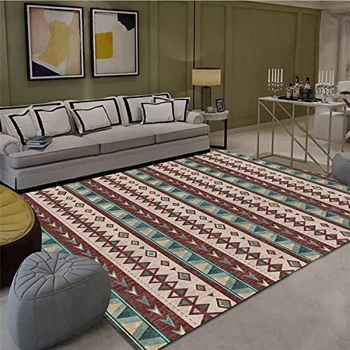 Vlejoy Tapis de Salon Traditionnel Maison de Style Marocain Table Basse Table de Chevet Chambre Rouge Brun Géométrique-80x160cm
