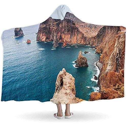 BeiBao-shop Landschaft mit Felsen der Insel Madeira, Hooded BlanketsPortugal, Wearable