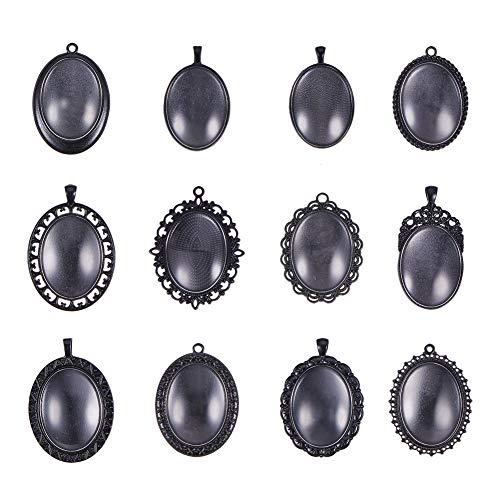 PandaHall Elite 12 conjuntos de diferentes tamaños de aleación galvanizada grande ovalado negro con cabujones de cristal transparente para hacer colgantes