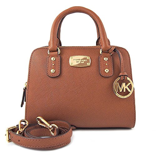 """Extra small satchel in luggage brown saffiano leather with polished gold tone hardware Lined interior with zippered pocket Zippered top close; small open slip pocket on the back Dual rolled leather handles with a 2"""" drop, or use the removable and adj..."""
