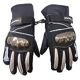 LVNRIDS Guantes de Moto Invierno, Guantes Impermeables de Moto con Pantalla Táctil Mujeres y Hombres Guantes Tácticos Negro XL