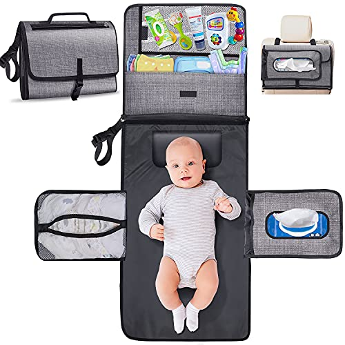 Gimars Large Capacity 6 Pockets Baby Portable Changing Pads, Waterproof & Easily Cleanable Detachable Travel Portable Diaper Changing mat, Baby Shower Gifts, Newborns Essentials