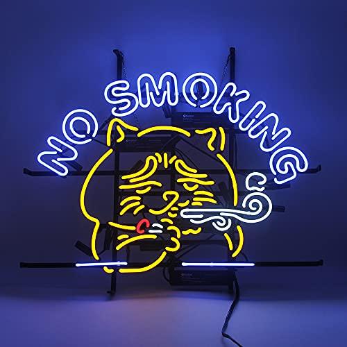 "Neon Sign Lights,Handmade Real Glass Tube,Advertising Sign Nightlight,Beer Bar Pub Home Room Windows Garage Wall Decor Wedding Party Decoration (NO Smoking CAT 24""X20"")"