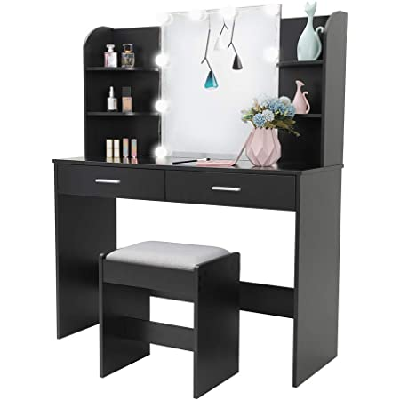 usikey Vanity Table Set with Big HD Mirror /& 10 LED Lights Black Makeup Vanity Desk with 2 Storage Shelf for Bedroom Bathroom Makeup Dressing Table with 3 Large Drawers /& Cushioned Stool