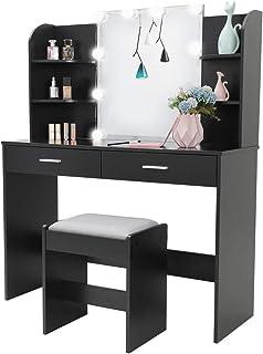 Amazon Com Vanities Vanity Benches Black Vanities Vanity Benches Bedroom Furnitur Home Kitchen