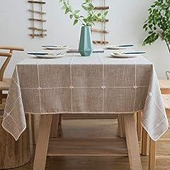 Idea Regalo - Aitsite Tovaglia Antimacchia Tovaglie Rettangolari Impermeabile Tablecloth Tovaglia da Pranzo Linen Cotton Nappa Tovaglia 140*220
