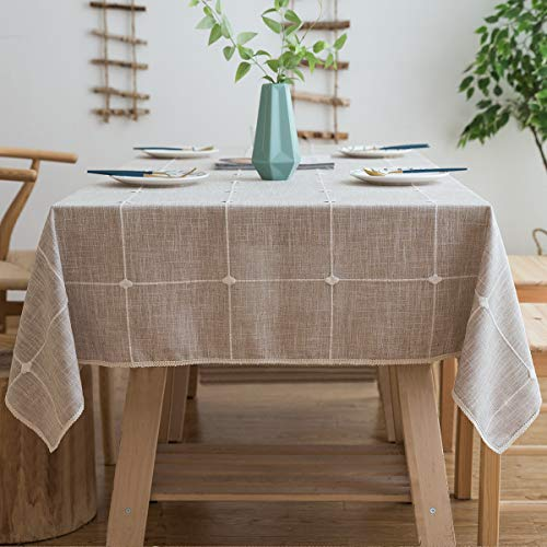 Aitsite Rechteck Tischdecke, Tischdecken Kariert aus Baumwolle und Leinen, Couchtisch Tischdecke Gartentischdecke, Mehrweg, Abwaschbar Küchentischabdeckung für Speisetisch(140 x 220 cm, Leinen)