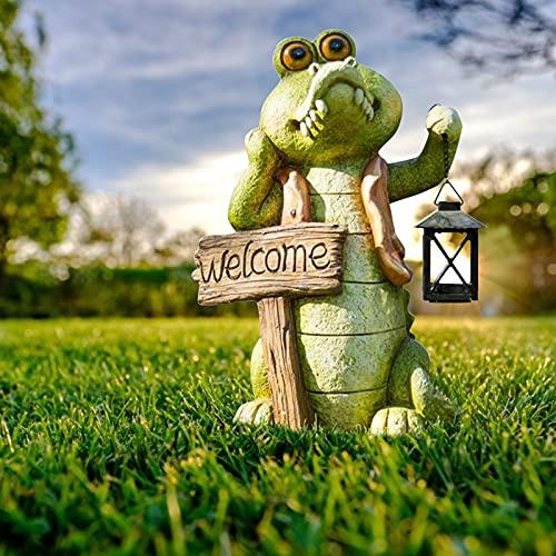 Fairy Green Alligator Garden Statues Outdoor,Crocodile Sculpture with Solar Small Lantern and Welcome Sign, Crocodile Figurines for Patio, Lawn, Graden Decor (NO.1)