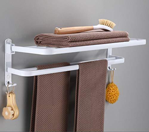 Espacio de aluminio para baño de hotel, toallero plegable blanco, toallero de baño de estilo europeo con gancho-39cm