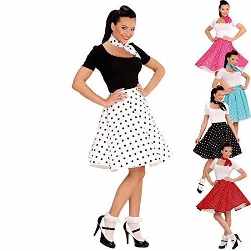 Amakando Rockabilly Outfit Tellerrock und Halstuch weiß-schwarz Gepunkteter Petticoat Swing Rock polkadotted 60er Jahre Party Karnevalskostüm