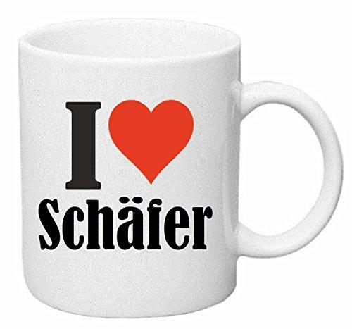 Reifen-Markt Kaffeetasse I Love Schäfer Keramik Höhe 9,5cm ? 8cm in Weiß