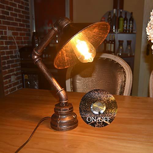LCYFBE Hierro Base Steampunk Lámpara Escritorio Antiguo Metal Tubo Lámpara de Mesa de Luz del Escritorio Lámpara de Mesilla Noche para Cafe Bar Estudio de Luz Nocturna de la Cabecera