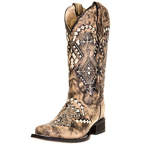 Corral Boots Womens Embroidery Square Toe Boot 9 M Sand