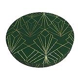 Funda De Cojín para Silla De Bar Redonda Art Decó En Tapices De Asiento De Taburete Verde Esmeralda Funda Elástica para Taburete