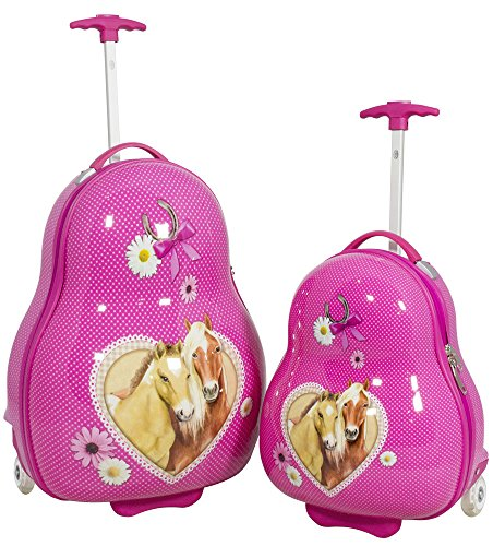 Hartschalen Kinder Koffer-Set 2-teilig Pferde-Motiv Trolley für Mädchen 2 LED-Rollen