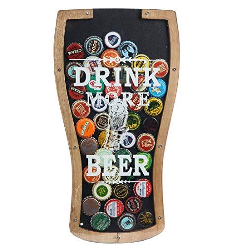 LilysHome Bierdeckelhalter Shadow Box, glückliche und hydratisierte Bierliebhaber, Holz und Glas. Wandhalterung