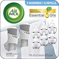 Air Wick Plug in Scented Oil Starter Kit, 2 Warmers + 6 Refills, Fresh Linen, Same Familiar Smell of Fresh Laundry, Eco...