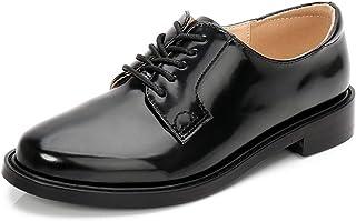 レースアップシューズ おじ靴 オックスフォードシューズ レディース 革靴 ジャズシューズ 通勤 通学 紐靴 エナメル 3cm 5cm ブラック 黒 シンプル カジュアル フォーマル 春夏 秋冬 美脚 大きいサイズ 25.0cm 小さいサイズ 22.0cm