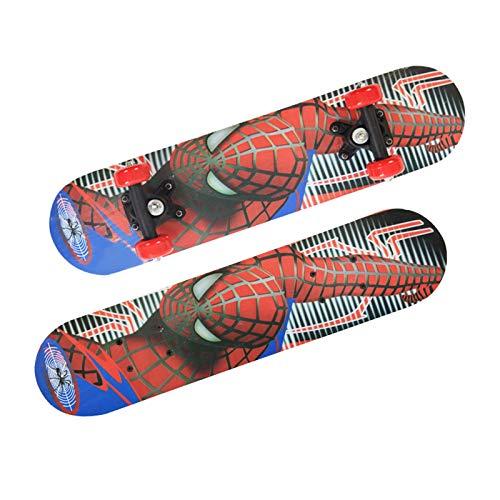 PDVCB Monopatín para niños Skateboard de 4 Ruedas Patinaje Profesional Profesional Principiante Doble Cara Spiderman Skateboard