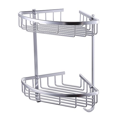 KES Aluminum Tub and Shower Large Corner Basket Wall Mount Double Deck A4021B