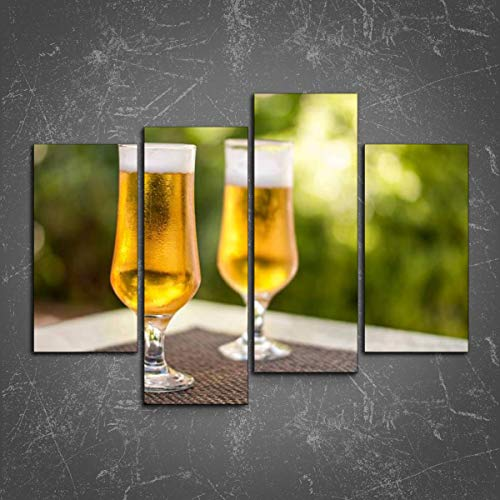 Wall Art: Two Full Glasses of Beer on a Patio Table Print On Canvas Wall Decor Painting for Home Modern Decor 4 Panel