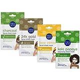 Miss Spa Premium Pamper Facial Sheet Masks for Women, Bamboo Charcoal, Kale Papaya, Bee Venom, 24K Gold, Anti-Aging, Anti-Wrinkle, 4-Pack