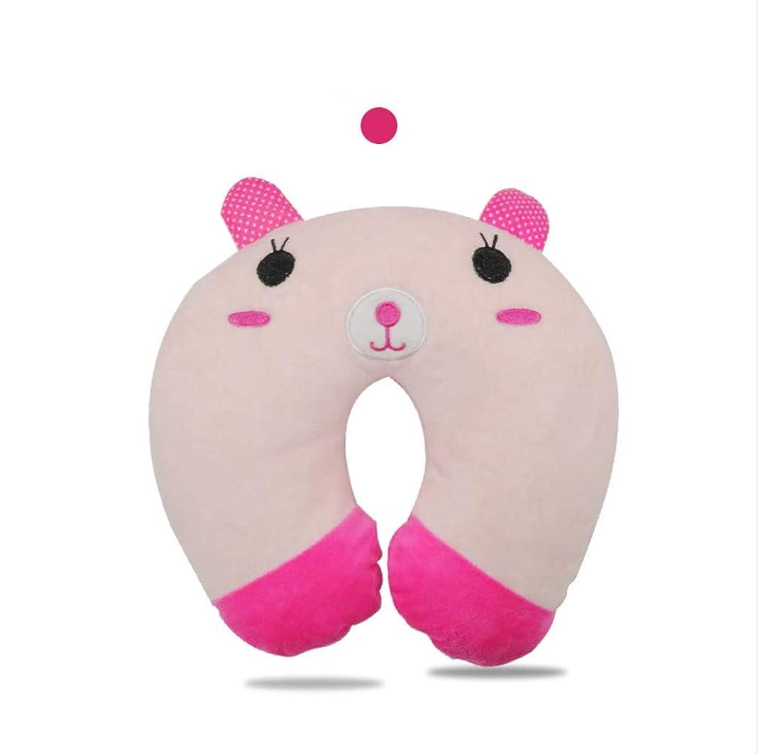 一致嵐のリーチWanghong とても可愛いアニマル子供用ネックピロー アニマル U型 携帯枕 飛行機まくら 旅行便利グッズ プレゼント (ピンク(ウサギ))