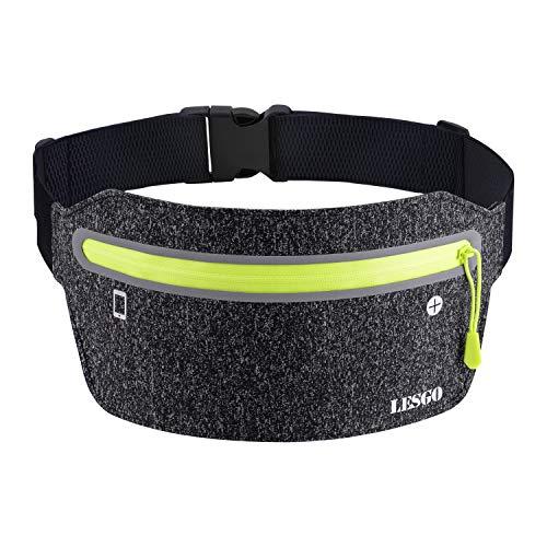 LESGO ランニング ポーチ ウエストバッグ ランニングベルト 超軽量 超薄 防水 防汗 4つの独立ポケット 6.5インチまでスマホに対応 夜間反射素材 ジョギング ウオーキング サイクリング 登山 旅行 ダークグレー