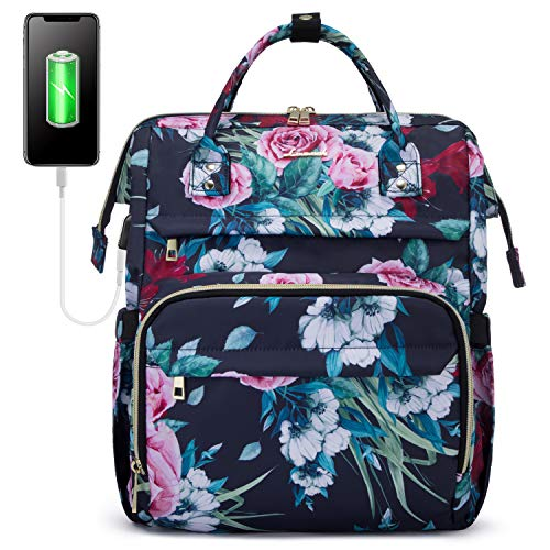 LOVEVOOK Rucksack Damen mit 156 Zoll Schulrucksacke fur madchen Teenager Laptop Rucksacke mit Laptopfach und Anti Diebstahl Tasche Rosemuster Blau
