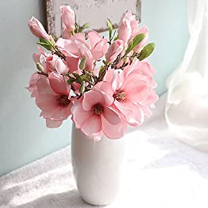 8QzJs1Tg 1 Pc Artificial Magnolia Fake Flower Bud Bridal Wedding Home Cafe Store Decor for Wedding, Stage, Bedroom, Park, Office, Dining Room, Courtyard, Store Decor
