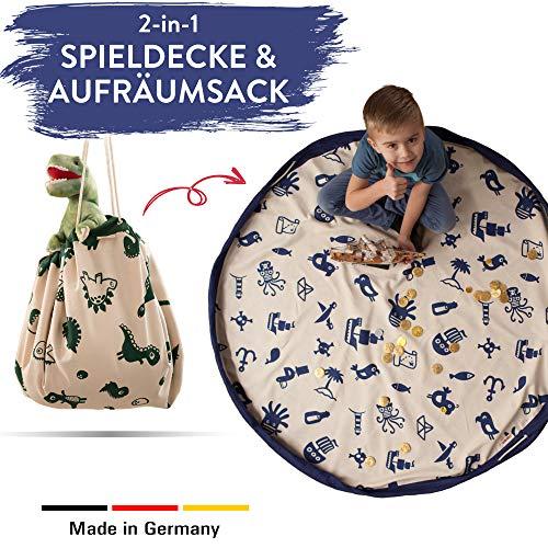 snugo Pirat Krabbeldecke, Spielteppich & Aufräumsack in Einem für Kinder & Baby | Ideal für die Aufbewahrung von Spielzeug, Lego und Anderen Spielsachen | Made in Germany