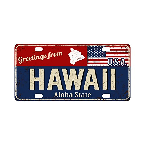 InterestPrint Hawaii Aloha State Rusty Metal Sign with American Flag Metal License Plate for Car, Metal Auto Tag for Woman Man, 12 x 6 Inch