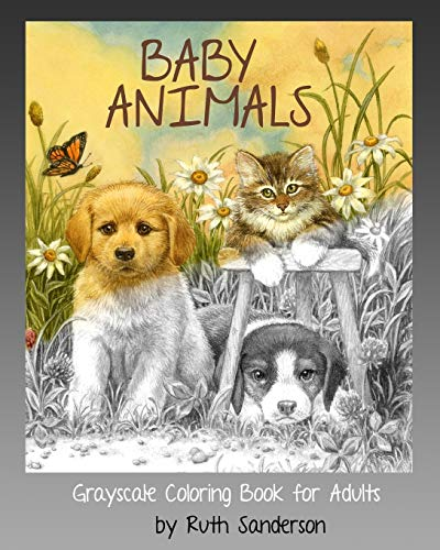 Baby Animals: Grayscale Coloring Book for Adults