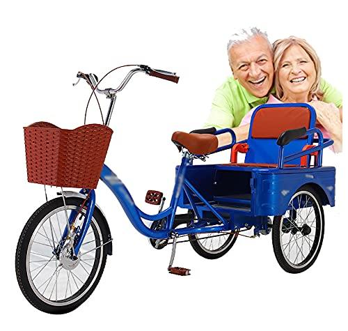 ZHMIAO 20 Pulgadas Adultos triciclos 3 Ruedas Bicicletas Bicicletas Crucero triña con la Cesta de la Compra Delantera para Las Personas Mayores Hombres Hombres Ancianos ped Blue