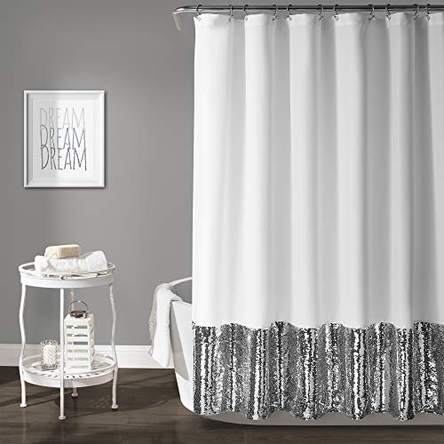 Lush Decor, Silver & White Mermaid Sequins Shower Curtain, 72' x 72'