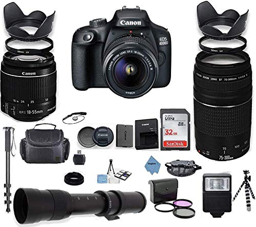 Canon EOS 4000D DSLR Camera with 18-55mm is II Lens Bundle + Canon EF 75-300mm f/4-5.6 III Lens and 420-800mm Telephoto Zoom Lens + 32GB Memory + Filters + Monopod + Inspire Digital Cloth