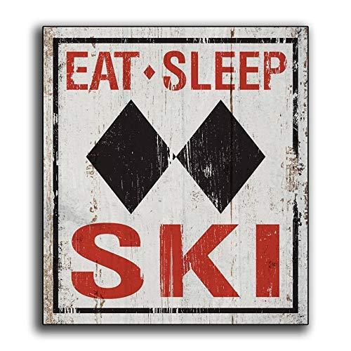 qidushop - Cartel Decorativo de Madera con Texto en inglés Eat Sleep Ski Sport Man Cave Game Room Chalet Lodge Cabin Sking Colorado