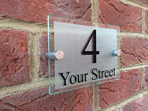 House Number Plaques Customize MODERN DOOR NUMBER/ADDRESS PLAQUE GLASS ACRYLIC OUTDOOR HOUSE SIGN Bin Number Stickers incomparable