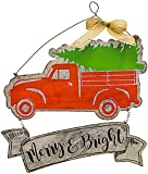 "Hanna's Christmas Metal Sign Merry & Bright Antique Truck and Tree Rustic Galvanized Tin Wall Front Door Wreath Decor Indoor Outdoor 16"" x 12.5"""
