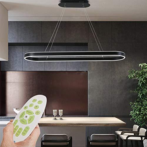 100cm LED Büro Pendelleuchten Modern Ring Design Kronleuchter Dimmbar mit Fernbedienung Acryl Lampenschirm Hängeleuchte Minimalismus Dekoration Pendelleuchten für Büro Schlafzimmer Esstisch (Schwarz)