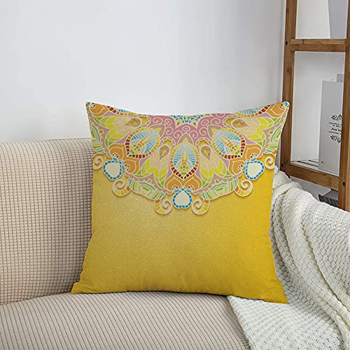 Fundas de cojines sencillas y clásicas de 45 x 45 cm,Mandala amarilla, inspiración de jardín de primavera orien,ideales para casa, oficina o para la espalda en el coche - Fundas de Poliéster para sofá