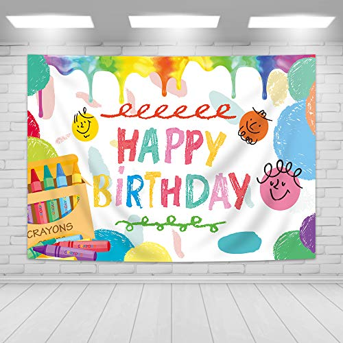 Imirell Crayon Happy Birthday Backdrop 5Wx3H Feet Colorful Caryon Party Supplies Photography Background Polyester Fabric Color Pattern Photo Shoot Decor Props