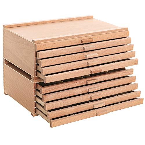 U.S. Art Supply 10 Drawer Wood Artist Supply Storage Box - Pastels, Pencils, Pens, Markers, Brushes