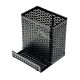 Artistic Urban Collection Punched Metal Pencil Cup with Cell Stand, Black (ART20014)