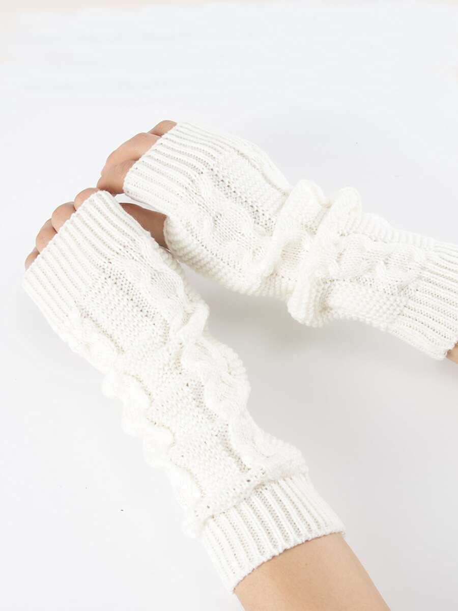 ZZTT Autumn and Winter Gloves Plain Knitted Gloves Warm and Comfortable Gloves for Men or Momen (Color : White, Size : One-Size)
