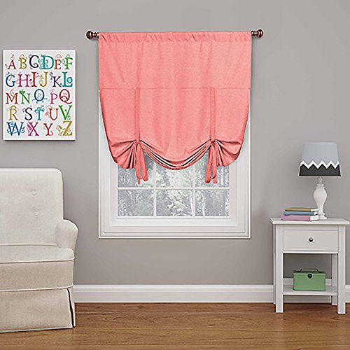"""ECLIPSE Blackout Curtains for Kitchen - Kendall 42"""" x 63"""" Short Single Panel Tie Up Shades for Small Window, Coral"""
