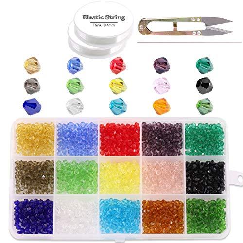 Glarks - Juego de 1800 cuentas de cristal de 4 mm con forma de bicónica, 15 colores, cuentas de cristal facetadas con cuerda elástica, tijeras, aguja para hacer joyas, pulseras, collares, pendientes